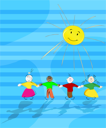 community: picture of four children holding hands and playing in the sun