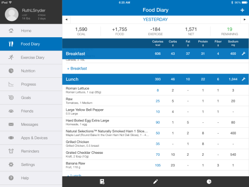 Caloric and nutrition information provided by MyFitnessPal